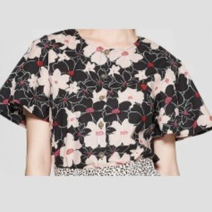Who What Wear Brand Floral Short Sleeve Blouse